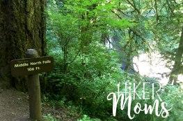 Hiker Moms Silver Falls State Park Silverton Sublimity Oregon Twin Falls Upper North Falls Middle North Falls Winter Falls hike Kids 106 feet tall Middle North Falls