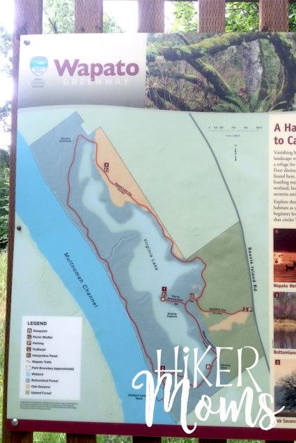 Virginia Lake Sauvie Island Portland Oregon Hiker Moms Hike Oregon Hiking kids trail feature map