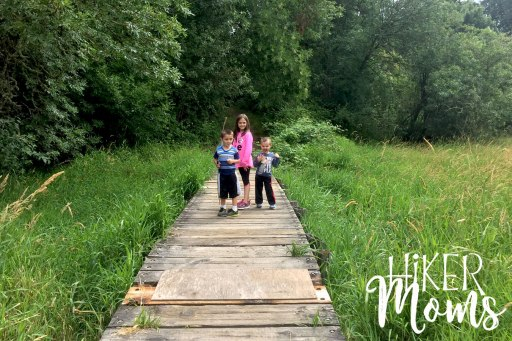 Virginia Lake Sauvie Island Portland Oregon Hiker Moms Hike Oregon Hiking kids trail feature small bridge wooden