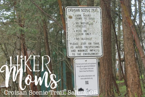 Croisan Scenic Trail, Salem, sign, Oregon, Easy Hike, Stroller, Kids, mud